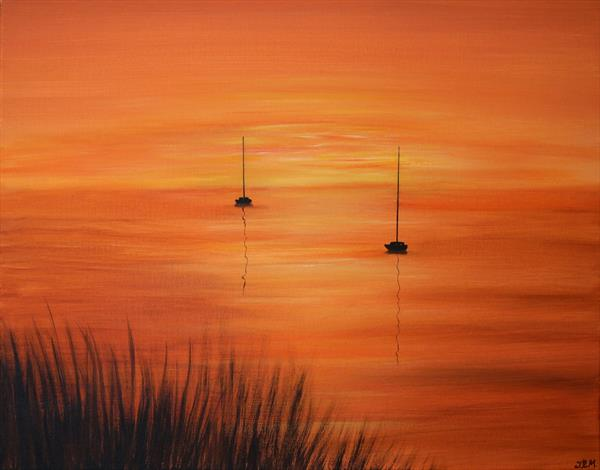 Sailboats at Sunset by Jacqueline Moore