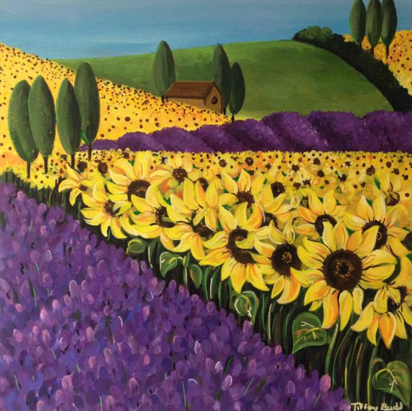 Sunflower and Lavender Fields by Tiffany Budd