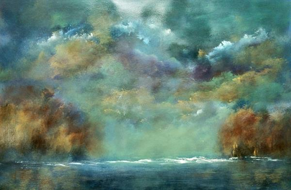 Going To The River To Pray  Impressionist seascape On Card by Maxine Martin