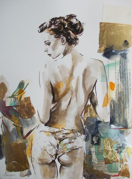 Out Of My Dream - Woman Watercolor Mixed Media Painting by Antigoni Tziora