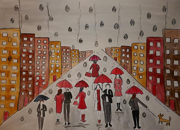 Umbrellas in the Rain and Raindrops by Casimira Mostyn