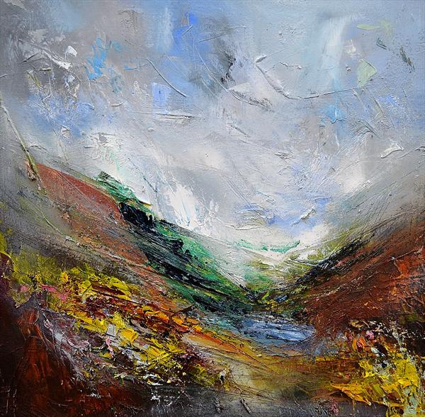 Mountain Lake, Gorse, Strong Wind by Matthew Bourne