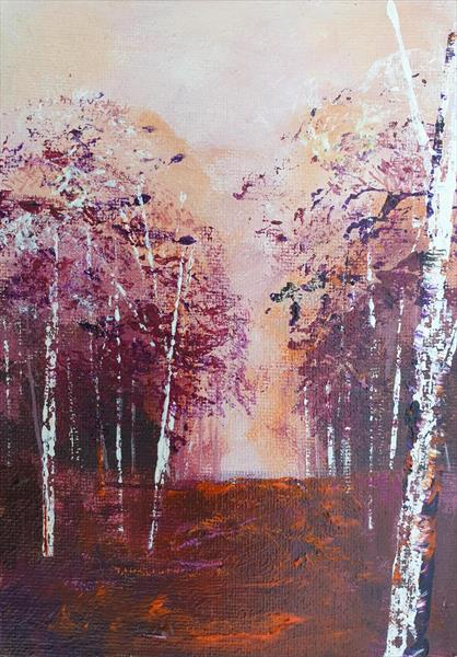 Warm Colours Silver Birches by Teresa Tanner
