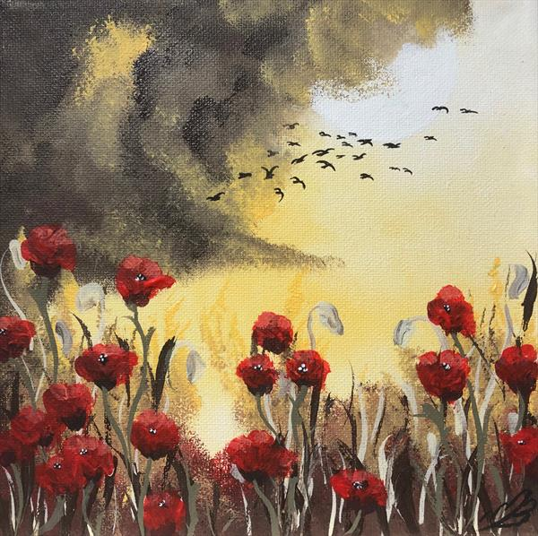 Poppies under a full moon in a frame by Marja Brown