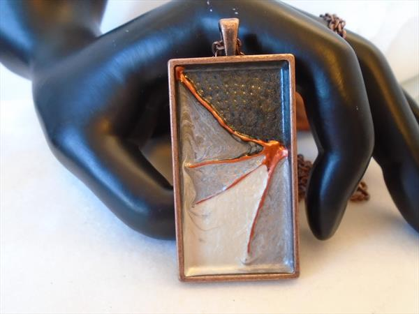 Hand Painted Chunky Copper Pendant with Long Chain by Brenda Newton