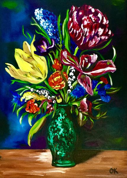 Bouquet of summer flowers in a malachite vase by Olga  Koval