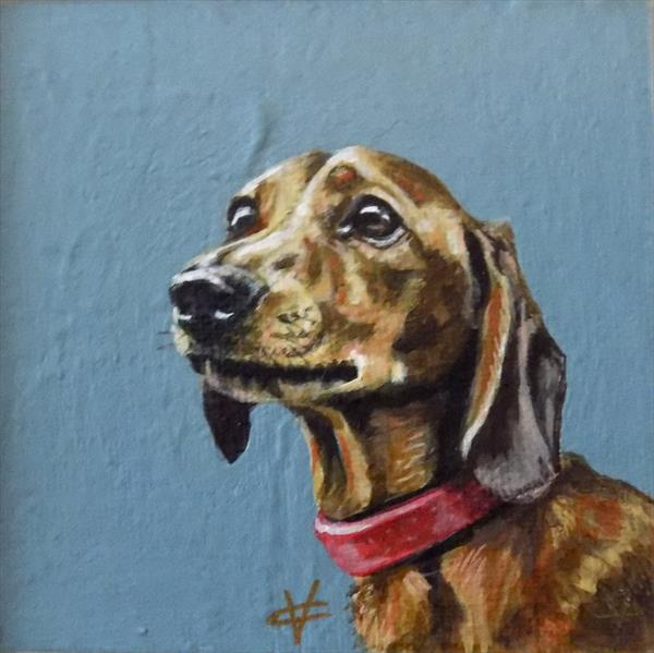 Lulu: Tan Dachshund Painting by Victoria Coleman