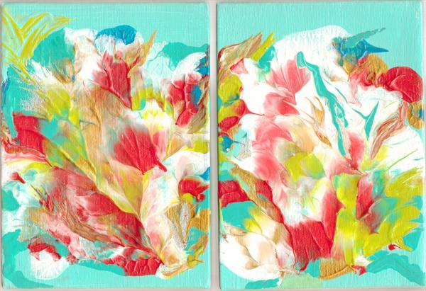 Sale - Joyous: Pair Small Abstracts (Diptych)