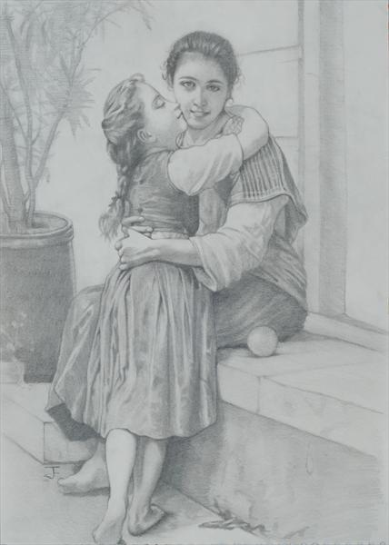 A Little Coaxing, Master Study (William-adolphe Bouguereau) in Graphite by Steffan Johnson
