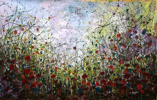 There Goes My Heart Again #2 - Large 130x84cm - Original abstract floral painting  by Cecilia Frigati