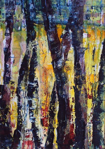 Abstract Birches Study 1 by Teresa Tanner