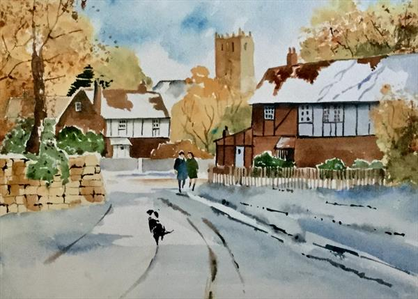 WINTER THROUGH THE VILLAGE by Susan Shaw