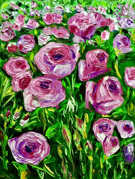 Pink and purple roses in a park  by Olga  Koval