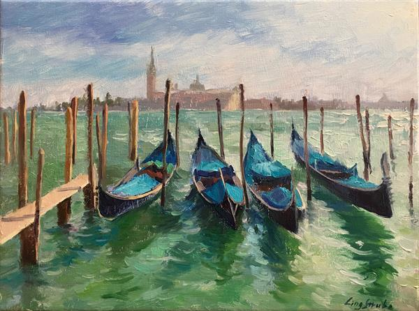 The Gondola in Venice (frame) by Ling Strube