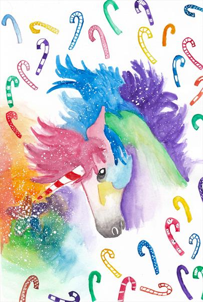 Candy-Cane Unicorn by Andrea Clerkin