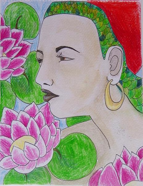 Gypsy Girl With Lilies by Charlotte Louise Kirkham