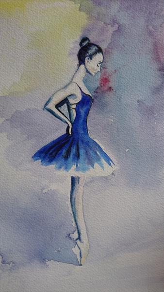 Abstract ballerina on the point dance light and shade by Elena Haines