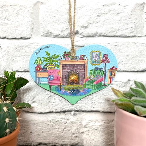Bless this house illustrated glossy vinyl print wooden plaque by Lisa-Marie Davies