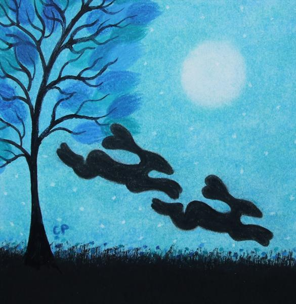 Hares and Moon (Framed) by Claudine Peronne