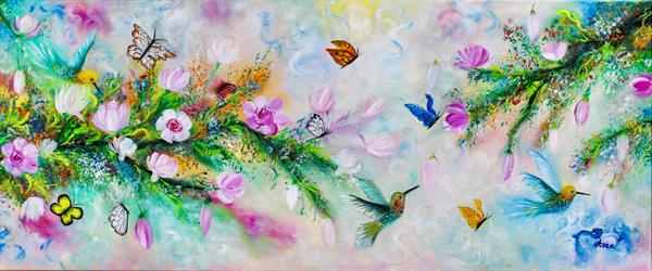 Modern butterfly painting,floral painting, humming birds by Florentina(anca)  popescu