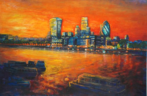 London skyline with new buildings( Limited edition Print) by Patricia Clements