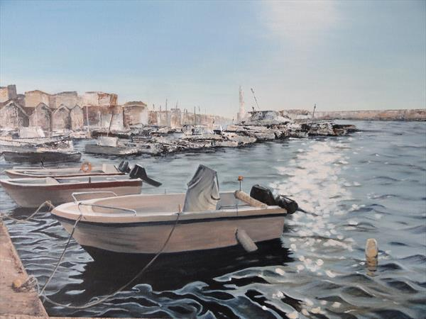 Chania Harbour by Margaret Ramskill