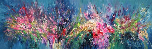Slim: Pink Turquoise Flowery L 1 by Peter Nottrott