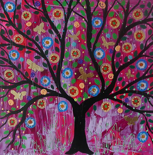 Colourful  Butterfly Tree by Casimira Mostyn