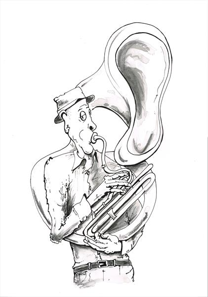 Busker with a large horn by Keith Mcbride