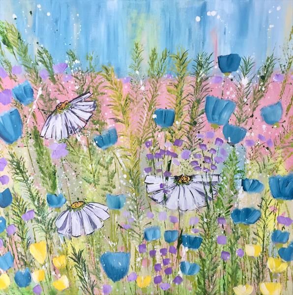 Daisies in Spring - Large Canvas  by Caroline Duncan