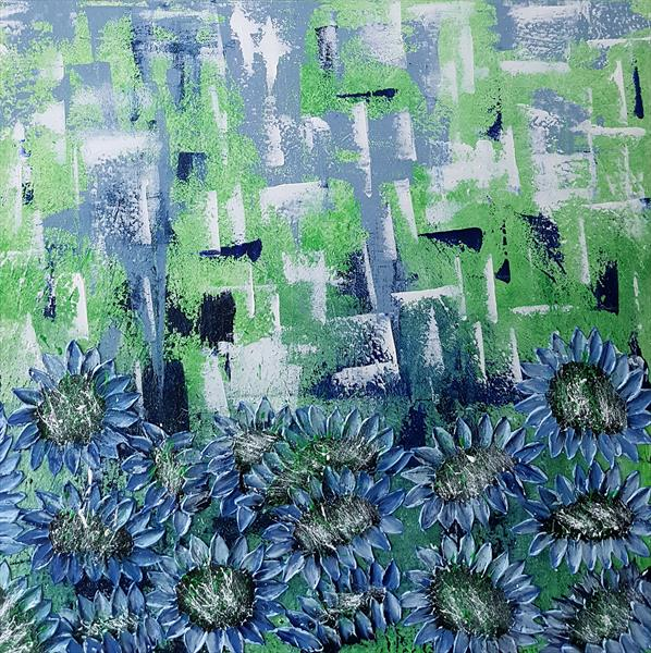 GREEN MEADOW OF BLUE SUNFLOWERS by Cinzia Mancini