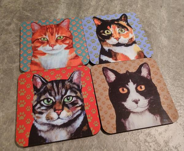 Set of 4 Cat Coasters by Victoria Stanway