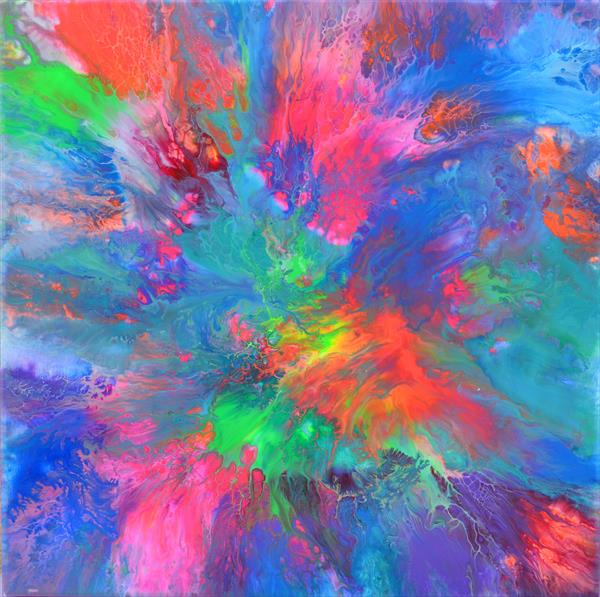 The Forest Song 7 - Abstract Fluid Painting by Soos Tiberiu - Anton