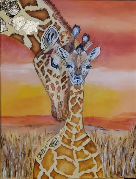 Mother and child Giraffe by Petra Potgieter