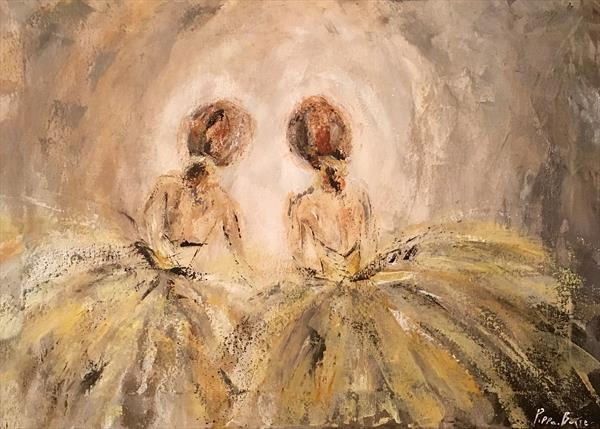 Ballet dancers in the wings (yellow)  by Pippa Buist