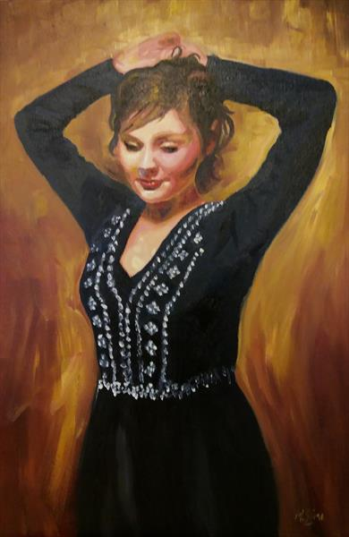 Diamante in Black - A Figurative Oil Painting by Marjory Sime by Marjory Sime