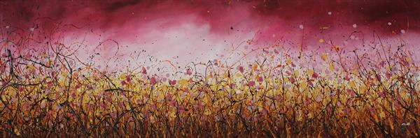 Golden Passion - Extra large original abstract landscape by Cecilia Frigati