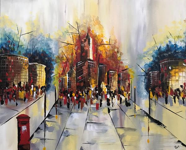 London Evening Abstract  by  Rizna  Munsif