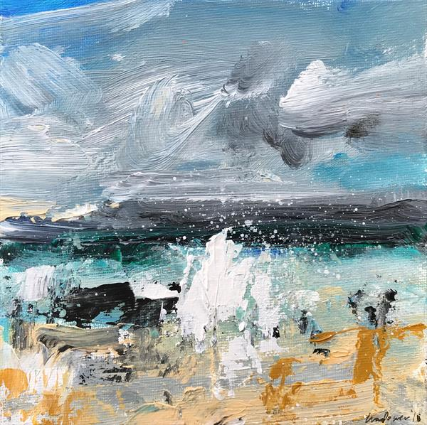 'Beach Spray' - 15cm x 15cm Framed seascape by Luci Power