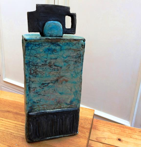 Clay sculpture ~Raku Dream Jar In Matte Black And Turquoise by Maxine Martin