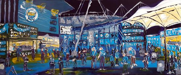 Man City Blue Moon Cafe By Night by Andrew Alan Matthews