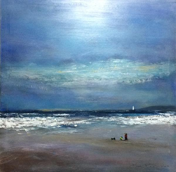 The Shell Seekers Impressionist seascape on thick card unframed by Maxine Martin