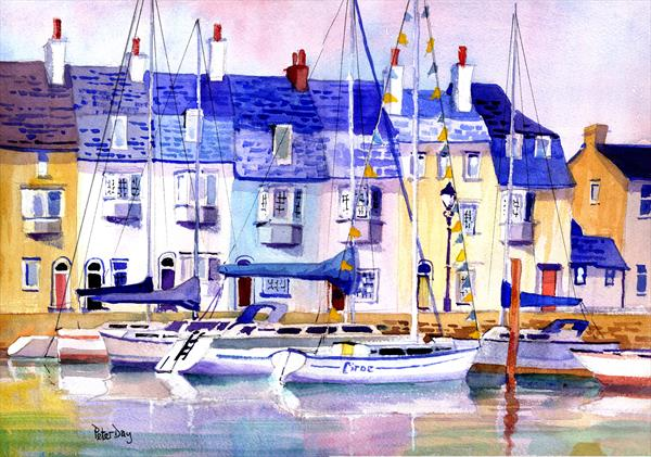 Weymouth. Fishermen's Cottages, Old Harbour. Sea, yachts, boats. by Peter Day