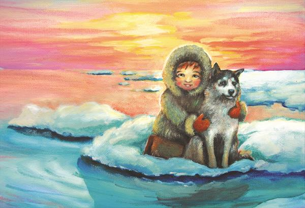Eskimo boy and his Husky by Monika Umba