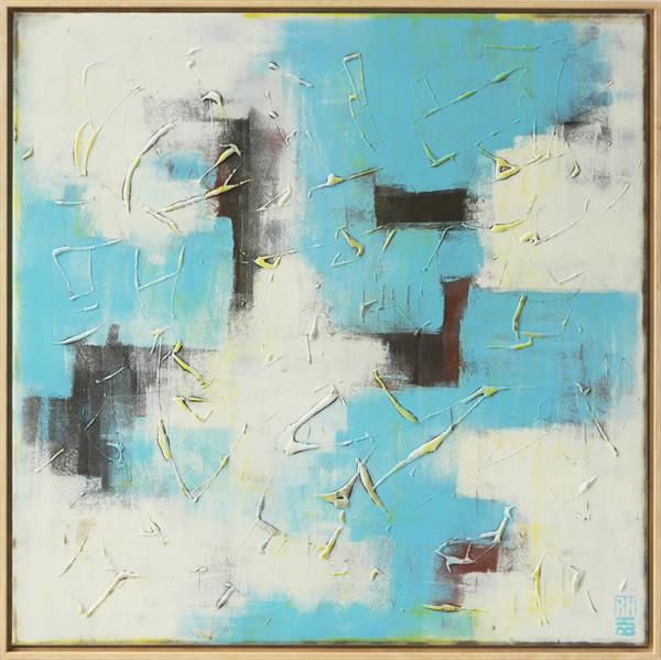White & Turquoise City Structure - Incl Frame by Ronald Hunter