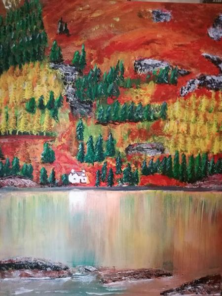 Scottish Autumn Mountain Reflections by Louise Cairns