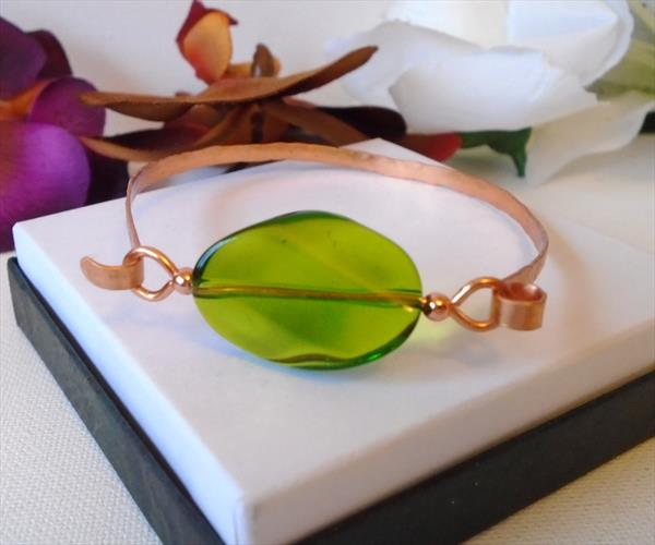 Handmade Hammered Copper Bracelet with Large Emerald Green Indian Glass Bead by Brenda Newton