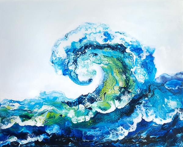 Beautiful ocean wave. Original acrylic Painting. by Inna Stone