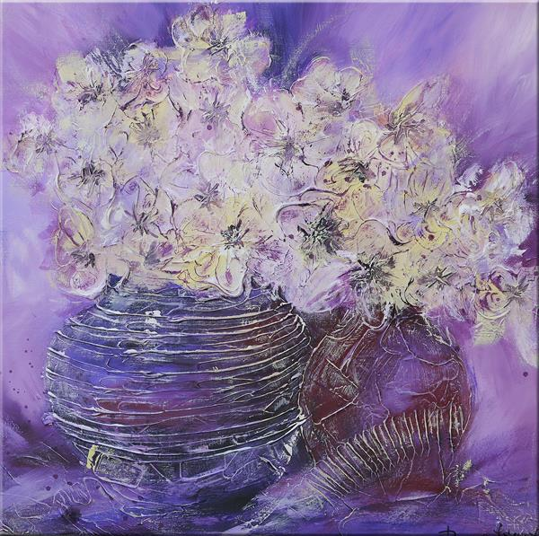 Flowers In A Lilac Vase by Irina Rumyantseva