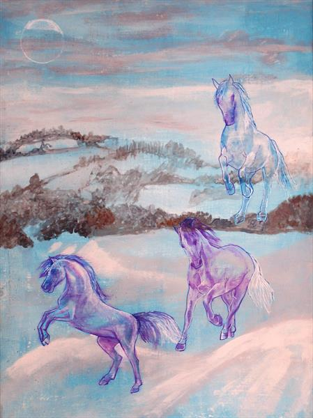 Spirit horses landing on a drift of snow by Helena Manchip